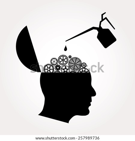 symbolic illustration with open gears brain and oil can - stock vector