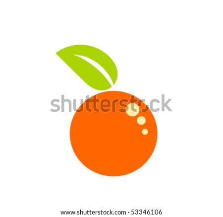 Symbolic simple orange fruit - stock vector