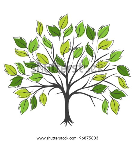 Symbolic tree with single leaves vector illustration - stock vector