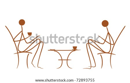 Symbolic vector drawing couples in cafe - stock vector