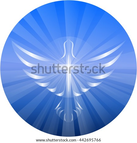 Symbolized vector illustration of a dove and cross representing God's Holy Spirit, on a blue circle background with rays of light.  - stock vector