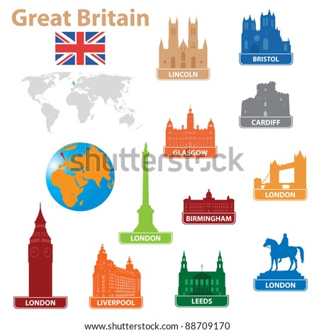 Symbols city to Great Britain. Vector illustration for you design - stock vector