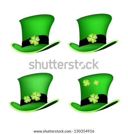 Symbols for Fortune and Luck, An Illustration Collections of Fresh Four Leaf Clover Plants or Shamrock on Saint Patrick's Hat - stock vector