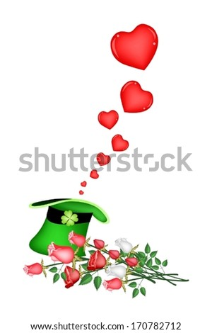 Symbols for Fortune and Luck, An Illustration of Lovely Hearts in Saint Patrick Hat A Good Luck Symbol on Valentine Day.  - stock vector