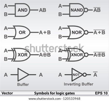 Symbols Logic Gates Stock Vector 120533968 Shutterstock