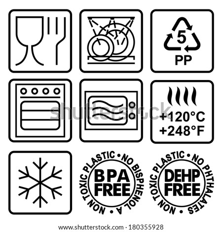Symbols Marking Plastic Dishes Signs Indicate Stock Vector Royalty