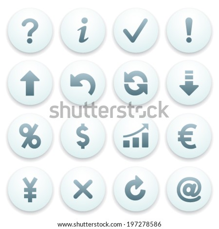 Symbols for web on blue buttons.
