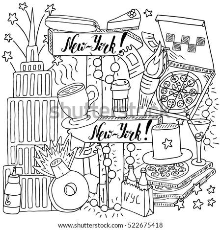 Symbols new york coloring page design hand drawn travel coloring isolated on white new