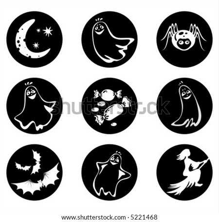 Symbols Halloween Ghosts Spider Sweets Bats Stock Vector 5221468