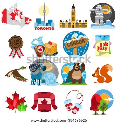 Symbols Canada Set Stock Vector 384696625 Shutterstock