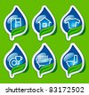 Symbols of cleaning and house-ware on stickers - stock vector