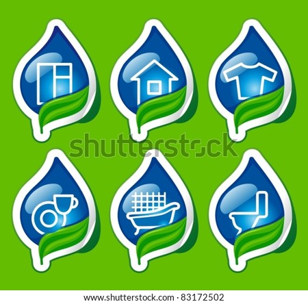 Symbols of cleaning and house-ware on stickers