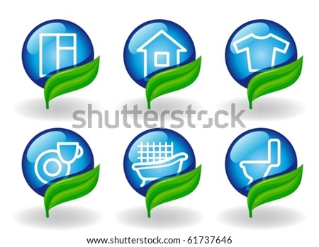 Symbols of cleaning and houseware - stock vector
