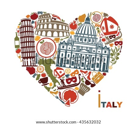 Symbols of culture, architecture and cuisine of Italy in the shape of a heart - stock vector