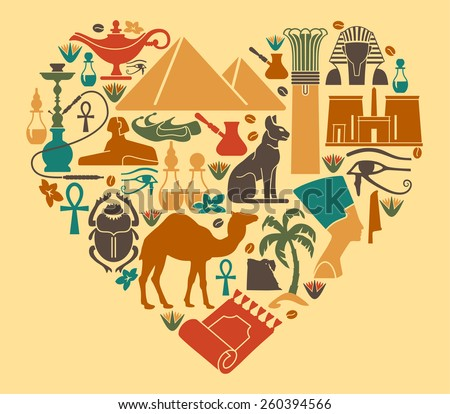 Symbols of Egypt in the shape of a heart - stock vector