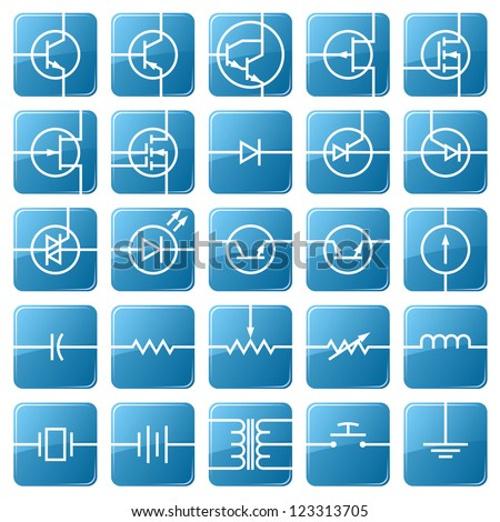 Symbols Electronic Components Shown Picture Stock Vector 123313705 ...