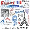 Symbols of France as funky doodles - stock vector