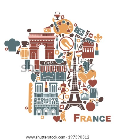 Symbols of France in the form of a map - stock vector