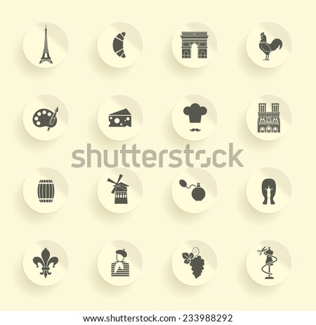 Symbols of France on stickers - stock vector