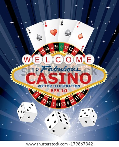 symbols of gambling with Las Vegas sign, vector illustration  - stock vector