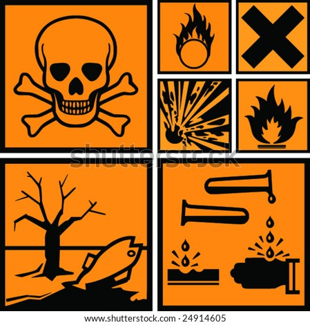 Symbols of hazard present on dangerous products. Physicochemical, health and environmental. Vector image