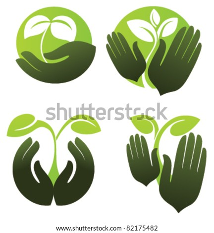 symbols of human's hands and growing plants - stock vector