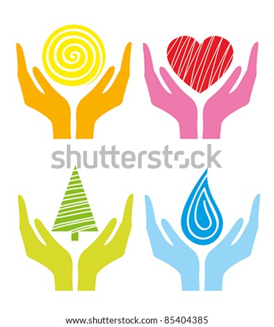 Symbols of human's hands on a white backgound - stock vector