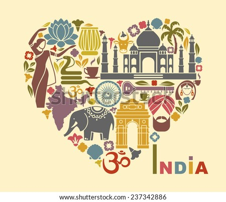 Symbols of India in the form of heart - stock vector