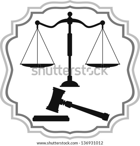 Symbols of Justice - scales and hammer - stock vector