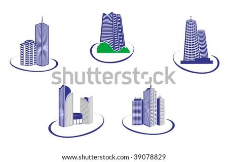 Symbols of modern and ancient buildings for design - for emblems or logo template. Jpeg version also available - stock vector