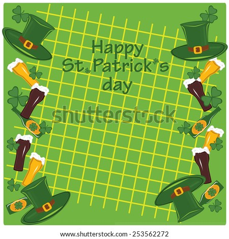 Symbols of patricks day clover, beer, hat, glass on background with net - stock vector