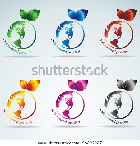 Symbols of the planets. 100% natural product. Vector - stock vector