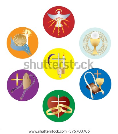 Symbols Seven Sacraments Catholic Church Color Stock Vector