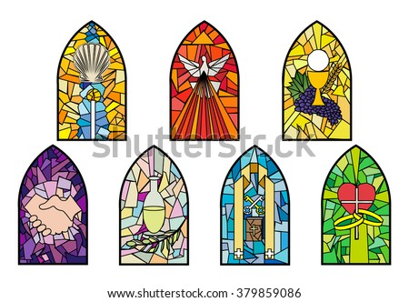 Symbols Of The Seven Sacraments Catholic Church On Stained Glass Windows Color Vector