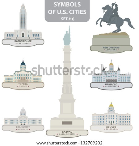 Symbols of US cities. Set 6. Vector for you design - stock vector