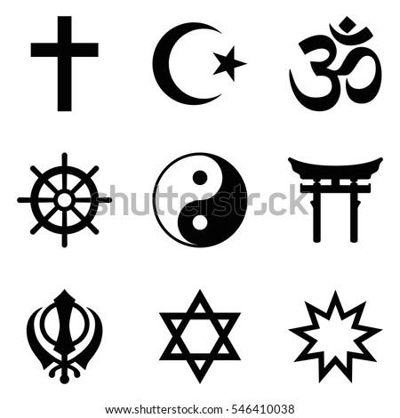 Symbols World Religions Nine Signs Major Stockvector 546410038