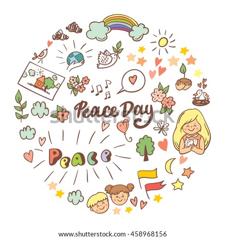 Symbols peace for International Peace Day. Peace Day poster, icon and design elements in doodle style. Big set. Peace Day concept.