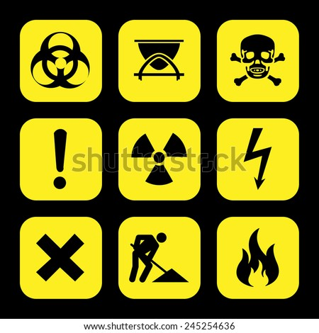 symbols warning hazard icons set great for any use. Vector EPS10. - stock vector