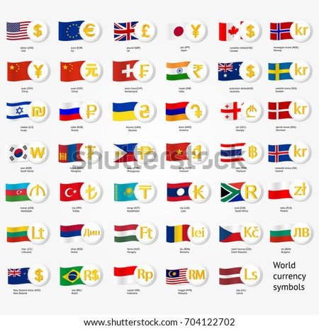 Symbols World Money National County Flags Stock Vector 704122702