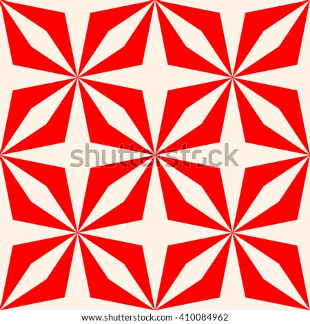 Symmetric geometric ornament. Stylized optical prism sunbeam background. Red striped abstract wallpaper. Vector illustration - stock vector