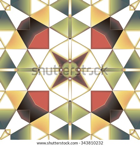 Symmetrical background element with triangles in form of stylized floral pattern. For wallpaper, pattern fills, web page background, surface textures for print and dalle production. - stock vector