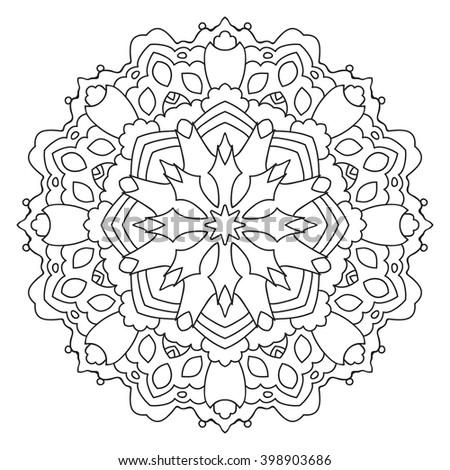 Vector Mandala Outline Drawing Pattern Coloring Stock ...