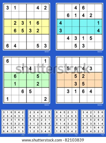 Symmetrical Mini sudoku vector set. Reflective. Very easy and easy. 16, 16, 12, 12 clues. - stock vector