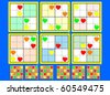 Symmetrical Mini-Sudoku vector set. Very Easy - stock vector