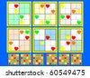Symmetrical Mini-Sudoku vector set. Very Easy - stock vector