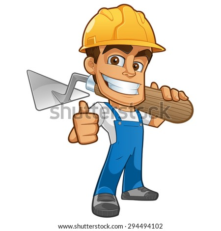 Sympathetic bricklayer dressed in work clothes, he wears a helmet and trowel - stock vector