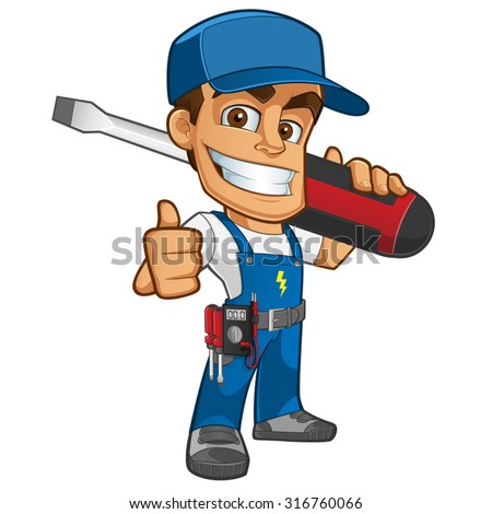 Sympathetic electrician, he will dress in work clothes and carrying different tools  - stock vector