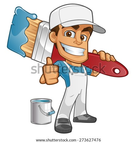 Sympathetic painter dressed in work clothes, he carries a brush - stock vector