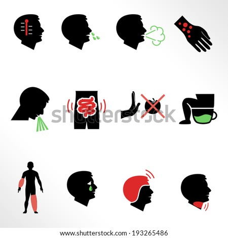 Symptoms of allergy and other diseases as flat icons / Solid fill icons in EPS 8 format - stock vector