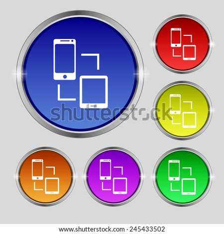 Synchronization sign icon. communicators sync symbol. Data exchange. Set colur buttons Vector illustration - stock vector